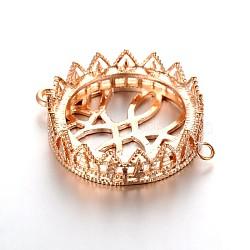 Плоские круглые параметров соединителя кабошон латунь филигрань, розовое золото , лоток : 25 мм; 35x27x8 мм, отверстие : 2 мм(KK-J228-06RG)