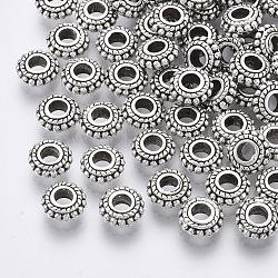 alliage de perles d'entretoise de style tibétain, accessoires en métal pour bricolage, rondelle, sans cadmium et sans nickel et sans plomb, argent antique, 7.5x3~4 mm, trou: 3 mm; environ 40 pcs / 20 g(Y-TIBE-Q063-35AS-NR)