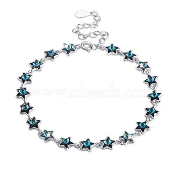 925 Sterling Silver Slider Bracelets, with Austrian Crystal, Star, Platinum, 205_Emerald, 6-5/8 inches(167mm)(BJEW-BB30906)