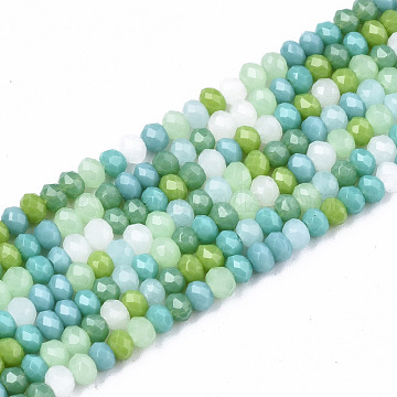 Opaque Glass Beads Strands, Imitation Jade Glass, Faceted Rondelle, Light Green, 3x2mm, Hole: 0.8mm, about 186~193pcs/strand, 17.13 inches~17.32 inches, (43.5cm~44cm)(X-GLAA-T006-07-A02)
