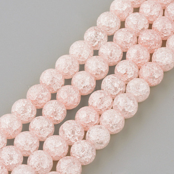 Synthetic Crackle Quartz Beads Strands, Round, Dyed, Pink, 8mm, Hole: 1mm, about 50pcs/strand, 15.7 inches(X-GLAA-S134-8mm-01)
