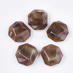 perles acryliques, style de pierres précieuses imitation, facettes, polygone, chameau, 35x32.5x16 mm, trou: 2.5 mm(OACR-T011-166B)