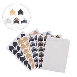 Diy scrapbooking albums photo autocollant de coin, couleur mixte, 22x20mm; 24 pcs / feuille; 25sheets / set(AJEW-PH0016-05)