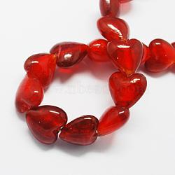 Perles en verre d'argent feuille manuelles, cœur, rouge, 28x24~28x15~17mm, Trou: 2mm(X-FOIL-R050-28x15mm-14)