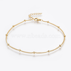 304 Stainless Steel Anklets, with Lobster Claw Clasps, Round Beads and Twist Chain, Golden, 9 inches(230mm); 1.5mm(AJEW-H013-04G)