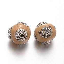 Perles rondes d'indonésie manuelles, avec accessoires en alliage plaqués argent antique, marron, 15x14mm, Trou: 2mm(IPDL-L001-11)