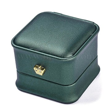 PU Leather Ring Box, with Golden Iron Crown, for Wedding, Jewelry Storage Case, Square, Dark Green, 2-1/4x2-1/4x1-7/8 inch(5.8x5.8x4.7cm)(LBOX-A002-01C)