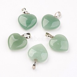 Естественный зеленый авантюрин подвески, сердце, с латунной фурнитурой , платина, 22~23x19.5~20.5x6~7.5 мм, отверстие : 5x7~8 мм(G-E467-03B-FF)
