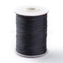 Cordon de polyester ciré coréen, chaîne artisanale en macramé pour la fabrication de bijoux, noir, 1 mm; environ 85 mètres / rouleau