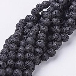 lave naturelle brins de perles, arrondir, noir, 8 mm, trou: 1 mm(G-E005-1)