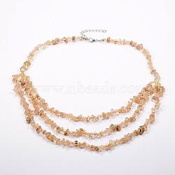 colliers à plusieurs rangées de perles de rocaille de quartz et de verre avec or naturel, colliers en couches, avec les résultats en laiton, 18.8 (48 cm)(NJEW-K100-05I)