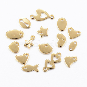 304 Stainless Steel Findings, Mixed Style Charms & Links, Golden, 5~10x3~7x0.8~1mm, Hole: 1~2mm(STAS-H557-54G)