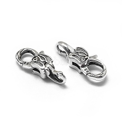 Thai Sterling Silver Lobster Claw Clasps, Antique Silver, 23x9x7mm, Hole: 4mm(STER-L057-004AS)