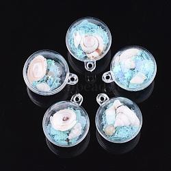 подвески из прозрачного пластикового контейнера, с раковиной и блестками, вокруг, голубой, 36.5x30~30.5x30~30.5 mm, отверстия: 2.5 mm(KY-S159-02A)
