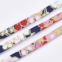 cordons de tissu plat, motif de fleur, coloré, 5x1.5 mm; sur 10 m / rouleau(OCOR-T013-04A-01)
