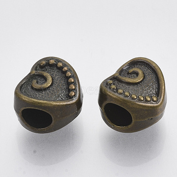 CCB Plastic European Beads, Large Hole Beads, Heart, Antique Bronze, 11x12x9mm, Hole: 5mm(X-CCB-S163-093AB)