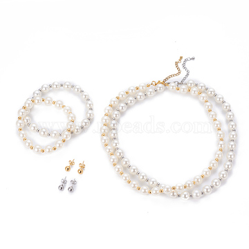 304 Stainless Steel Jewelry Sets, Ball Stud Earrings & Beaded Necklaces & Stretch Bracelets, with Plastic Round Beads, White, Mixed Color, 16.5 inches(42cm); 17x6mm, Pin: 0.7mm; 1-7/8 inches(4.7cm)(SJEW-G073-08-10mm)