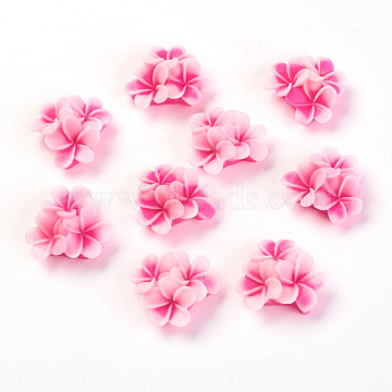 Flatback Resin Flower Cabochons, Deep Pink, 21x21x10mm(X-CRES-S240-A50)