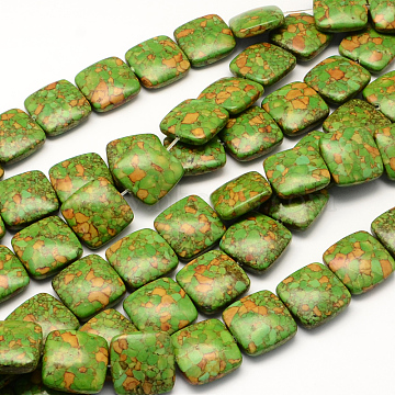 18mm OliveDrab Square Synthetic Turquoise Beads