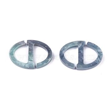 Acrylic Buckles, Oval, Cadet Blue, 22.5x15.5x2.8mm, Hole: 10.5x7.2mm(KY-L080-022)