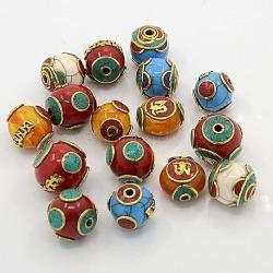Perles de style tibétain main mixtes, accessoires en laiton avec la cire d'abeille, turquoise synthétique et corail, couleur mixte, 16~20x17~21x17~21mm, Trou: 2~3mm(TIBEB-N001-28)