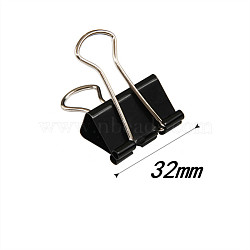 Metal Foldback Clips For Paper Document, School Office Supplies, Black, 32mm(TOOL-WH0015-06-32mm)