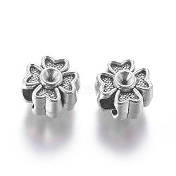Supports de perles européennes avec strass en alliage de style tibétain, Perles avec un grand trou   , sans plomb et sans cadmium, trèfle, argent antique, s'adapter pour 1 mm strass; 13x13x8 mm, Trou: 5mm(X-MPDL-6265-AS-RS)