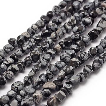 3mm Black Chip Snowflake Obsidian Beads