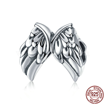 925 Thai Sterling Silver European Beads, Large Hole Beads, Wing, Antique Silver, 11x12mm, Hole: 4.2~4.5mm(STER-FF0010-25AS)