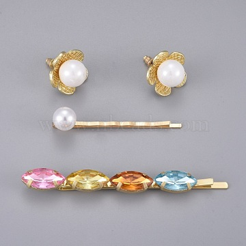 Iron Hair Clip and Stud Earrings Jewelry Sets, with Shell Beads, Acrylic Imitation Pearl, Glass Beads and Alloy Findings, Golden, 55x10mm, 20mm, Pin: 0.6mm(SJEW-E331-03)