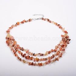 colliers à plusieurs niveaux en perles de verre et d'agate naturelle, colliers en couches, avec les résultats en laiton, 18.8 (48 cm)(NJEW-K100-05A)