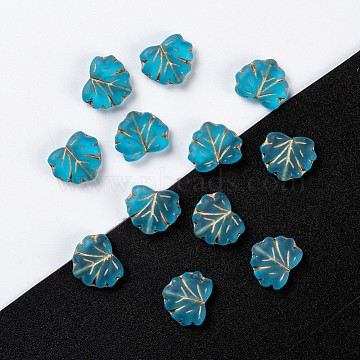 Czech Glass Beads, Maple Leaf, SkyBlue, 10.5x13x4mm, Hole: 0.8mm; about 11pcs/10g(X-GLAA-L025-C21)