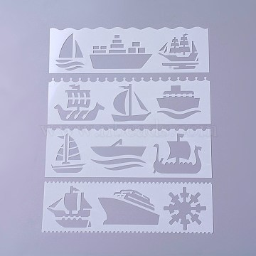 Plastic Drawing Stencil, Hollow Hand Accounts Ruler Templat, For DIY Scrapbooking, Loose Pulley, White, 186x56x0.3mm, about 8pcs/set(DIY-P003-J07)