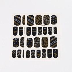 Autocollants en papier de tatouages temporaires de faux styles amovibles, métalliques ongles autocollants, or, 18~26x8~16 mm; environ 2 PCs / sac(AJEW-O025-13)