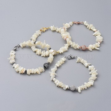Natural Spiral Shell Chip Beaded Bracelets, with Brass Micro Pave Cubic Zirconia Beads, Brass Round Beads, 304 Stainless Steel Clasps Lobster Claw and Cardboard Packing Box, Mixed Color, 7-5/8 inches~7-7/8 inches(19.5~20cm)(BJEW-JB04882)