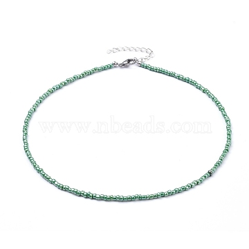 Glass Seed Beaded Necklaces, with 304 Stainless Steel Lobster Claw Clasps, Green, 15.9 inches(40.5cm)(NJEW-JN02811-04)