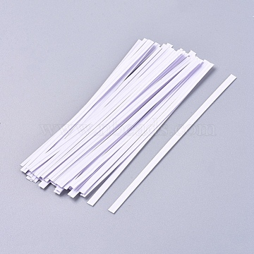 Kraft Paper Wire Twist Ties, with Iron Core, Bread Candy Bag Ties, White, 122x4x0.5mm, about 1000pcs/Bag(AJEW-WH0114-03-12cm)