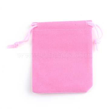 Rectangle Velvet Pouches, Gift Bags, Pink, 9x7cm(X-TP-R002-7x9-06)