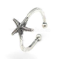 регулируемые кольца перста, морская звезда, Размер 7, Старинное серебро, 17 mm(X-RJEW-S038-039)