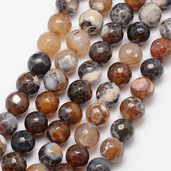 """Chapelets de perle en agate de feu naturel, rond, facette, teints et chauffée, marron, 10mm, trou: 1mm; environ 37 pcs/chapelet, 15""""(X-G-K166-07F-10mm-11)"""