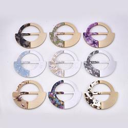 Boucles en aluminium et acétate de cellulose (résine), plat rond, couleur mixte, 64.5x70x4.5~5mm, Trou: 36~41.5x17~20mm(ALUM-S016-11)