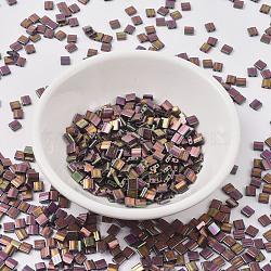 Perles de tila miyuki®, Perles de rocaille japonais, 2-trou, (tl1893) prune or lustre, 5x4.5x2mm, trou: 0.7 mm; sur 118 pcs / bouteille, 10 g / bouteille(SEED-JP0008-TL1893)