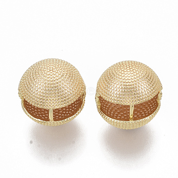 Brass Ball Clip-on Earrings, Nickel Free, Real 18K Gold Plated, 16.5x17.5x17.5mm, Pin: 1.2x1mm(KK-T050-051G-NF)