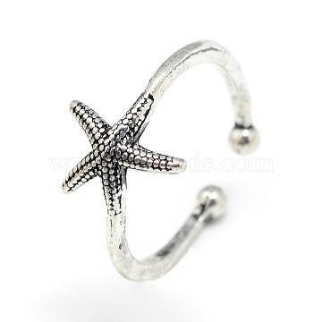 Adjustable Alloy Cuff Finger Rings, Starfish/Sea Stars, Size 7, Antique Silver, 17mm (X-RJEW-S038-039)