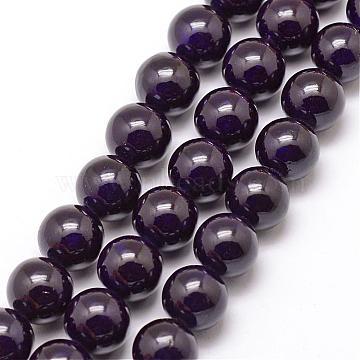 8mm MidnightBlue Round Fossil Beads
