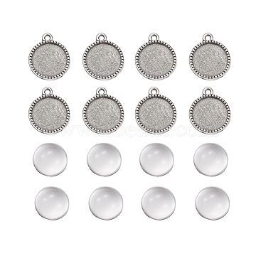 DIY Pendants Making, with Tibetan Style Alloy Pendant Cabochon Settings and Clear Half Round Glass Cabochons, Flat Round, Antique Silver, Cabochons: 13.5~14x6.5~7mm, Settings: 20x16.5x2mm, 2pcs/set(DIY-X0292-71AS)