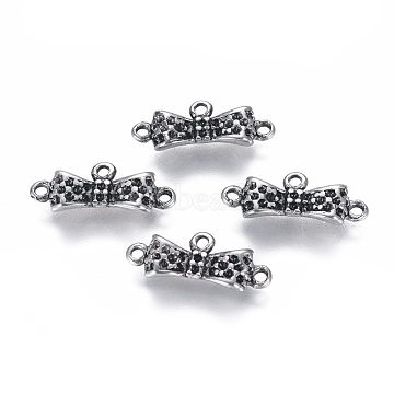 304 Stainless Steel  Rhinestone Connector Settings, Bowknot, Antique Silver, 7.5x17.5x3.3mm, Hole: 1.2mm; Fit For 1mm Rhinestone(STAS-I120-80AS)