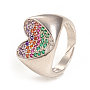 регулируемые кольца манжеты из латуни с микропаве и кубическим цирконием, сердце, красочный, платина, Размер 7, Внутренний диаметр: 17 mm