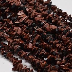Perles de puce d'obsidienne en acajou naturel, 3~5x3~5 mm, trou: 1 mm; sur 34(G-L269-16)