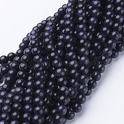 Chapelets de perles en pierre d'or bleue synthétique, rond, 6mm(GSR6mmC053)